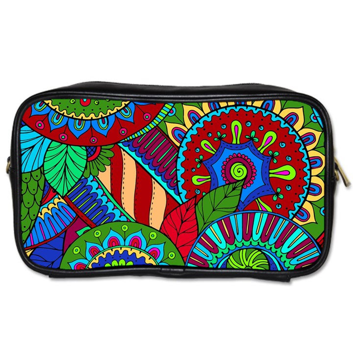 Pop Art Paisley Flowers Ornaments Multicolored 2 Toiletries Bags