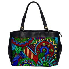 Pop Art Paisley Flowers Ornaments Multicolored 2 Office Handbags by EDDArt