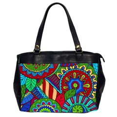 Pop Art Paisley Flowers Ornaments Multicolored 2 Office Handbags (2 Sides)  by EDDArt