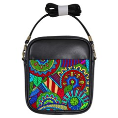 Pop Art Paisley Flowers Ornaments Multicolored 2 Girls Sling Bags by EDDArt