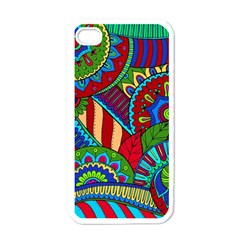Pop Art Paisley Flowers Ornaments Multicolored 2 Apple Iphone 4 Case (white) by EDDArt