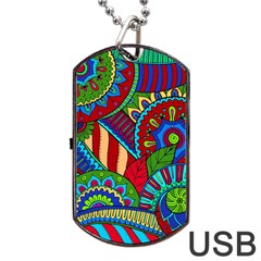 Pop Art Paisley Flowers Ornaments Multicolored 2 Dog Tag Usb Flash (two Sides) by EDDArt