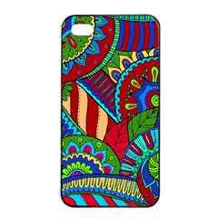 Pop Art Paisley Flowers Ornaments Multicolored 2 Apple Iphone 4/4s Seamless Case (black) by EDDArt