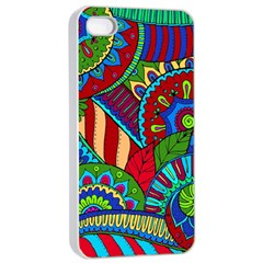 Pop Art Paisley Flowers Ornaments Multicolored 2 Apple Iphone 4/4s Seamless Case (white) by EDDArt