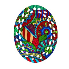 Pop Art Paisley Flowers Ornaments Multicolored 2 Oval Filigree Ornament (two Sides) by EDDArt
