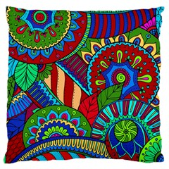 Pop Art Paisley Flowers Ornaments Multicolored 2 Large Cushion Case (two Sides) by EDDArt