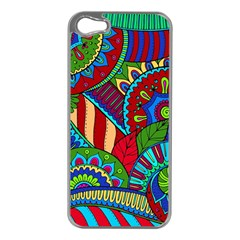 Pop Art Paisley Flowers Ornaments Multicolored 2 Apple Iphone 5 Case (silver) by EDDArt