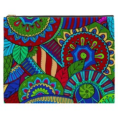 Pop Art Paisley Flowers Ornaments Multicolored 2 Cosmetic Bag (xxxl) by EDDArt
