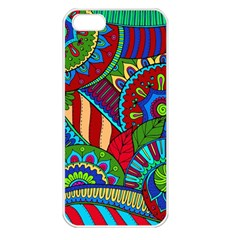 Pop Art Paisley Flowers Ornaments Multicolored 2 Apple Iphone 5 Seamless Case (white) by EDDArt