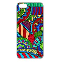 Pop Art Paisley Flowers Ornaments Multicolored 2 Apple Seamless Iphone 5 Case (clear) by EDDArt