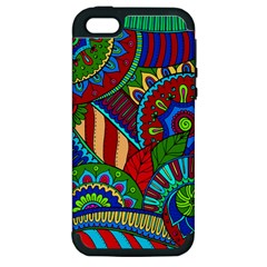 Pop Art Paisley Flowers Ornaments Multicolored 2 Apple Iphone 5 Hardshell Case (pc+silicone) by EDDArt