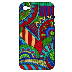 Pop Art Paisley Flowers Ornaments Multicolored 2 Apple Iphone 4/4s Hardshell Case (pc+silicone) by EDDArt