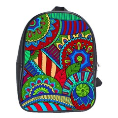 Pop Art Paisley Flowers Ornaments Multicolored 2 School Bag (xl) by EDDArt