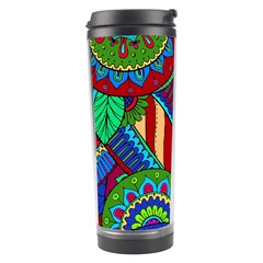 Pop Art Paisley Flowers Ornaments Multicolored 2 Travel Tumbler by EDDArt