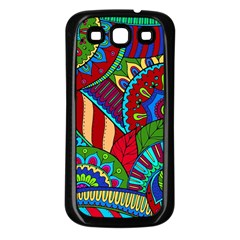 Pop Art Paisley Flowers Ornaments Multicolored 2 Samsung Galaxy S3 Back Case (black) by EDDArt