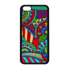 Pop Art Paisley Flowers Ornaments Multicolored 2 Apple Iphone 5c Seamless Case (black) by EDDArt