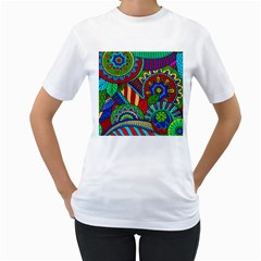 Pop Art Paisley Flowers Ornaments Multicolored 2 Women s T Shirt (white)  by EDDArt