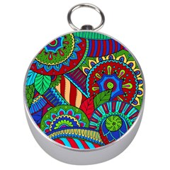 Pop Art Paisley Flowers Ornaments Multicolored 2 Silver Compasses by EDDArt