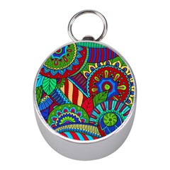 Pop Art Paisley Flowers Ornaments Multicolored 2 Mini Silver Compasses by EDDArt