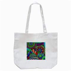 Pop Art Paisley Flowers Ornaments Multicolored 2 Tote Bag (white) by EDDArt