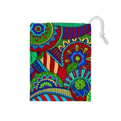Pop Art Paisley Flowers Ornaments Multicolored 2 Drawstring Pouches (medium)  by EDDArt