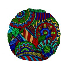 Pop Art Paisley Flowers Ornaments Multicolored 2 Standard 15  Premium Flano Round Cushions by EDDArt