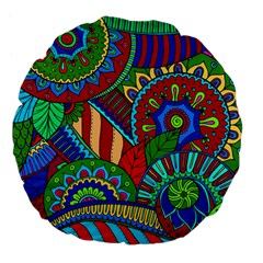 Pop Art Paisley Flowers Ornaments Multicolored 2 Large 18  Premium Flano Round Cushions by EDDArt
