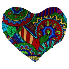 Pop Art Paisley Flowers Ornaments Multicolored 2 Large 19  Premium Flano Heart Shape Cushions by EDDArt