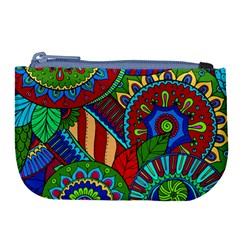 Pop Art Paisley Flowers Ornaments Multicolored 2 Large Coin Purse by EDDArt