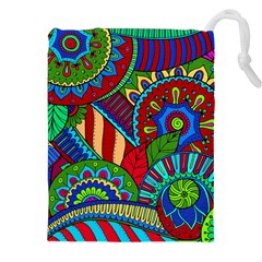 Pop Art Paisley Flowers Ornaments Multicolored 2 Drawstring Pouches (xxl) by EDDArt
