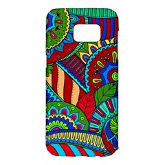 Pop Art Paisley Flowers Ornaments Multicolored 2 Samsung Galaxy S7 Edge Hardshell Case by EDDArt