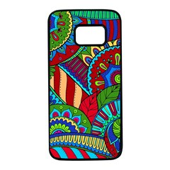Pop Art Paisley Flowers Ornaments Multicolored 2 Samsung Galaxy S7 Black Seamless Case by EDDArt