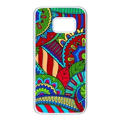 Pop Art Paisley Flowers Ornaments Multicolored 2 Samsung Galaxy S7 White Seamless Case