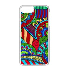 Pop Art Paisley Flowers Ornaments Multicolored 2 Apple Iphone 7 Plus Seamless Case (white)