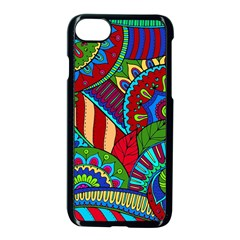 Pop Art Paisley Flowers Ornaments Multicolored 2 Apple Iphone 7 Seamless Case (black) by EDDArt