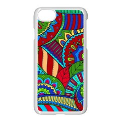 Pop Art Paisley Flowers Ornaments Multicolored 2 Apple Iphone 7 Seamless Case (white) by EDDArt