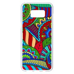 Pop Art Paisley Flowers Ornaments Multicolored 2 Samsung Galaxy S8 Plus White Seamless Case