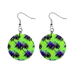 Palm Trees Lime In The Coconut Mini Button Earrings by CrypticFragmentsColors
