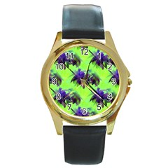Palm Trees Lime In The Coconut Round Gold Metal Watch by CrypticFragmentsColors