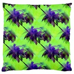 Palm Trees Lime In The Coconut Large Flano Cushion Case (two Sides) by CrypticFragmentsColors