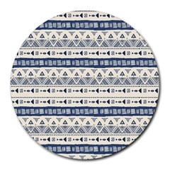 Native American Ornaments Watercolor Pattern Blue Round Mousepads by EDDArt