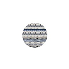 Native American Ornaments Watercolor Pattern Blue 1  Mini Buttons by EDDArt