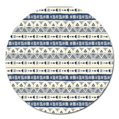 Native American Ornaments Watercolor Pattern Blue Magnet 5  (round) by EDDArt