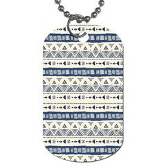 Native American Ornaments Watercolor Pattern Blue Dog Tag (one Side) by EDDArt