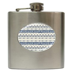 Native American Ornaments Watercolor Pattern Blue Hip Flask (6 Oz)