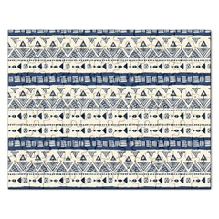 Native American Ornaments Watercolor Pattern Blue Rectangular Jigsaw Puzzl by EDDArt