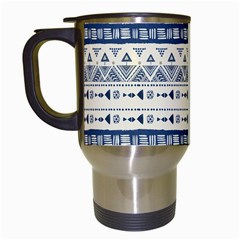 Native American Ornaments Watercolor Pattern Blue Travel Mugs (white)