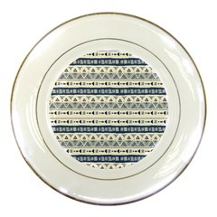 Native American Ornaments Watercolor Pattern Blue Porcelain Plates