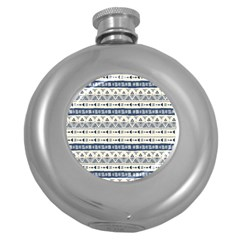 Native American Ornaments Watercolor Pattern Blue Round Hip Flask (5 Oz) by EDDArt