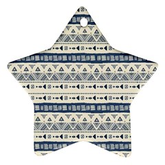 Native American Ornaments Watercolor Pattern Blue Star Ornament (two Sides)